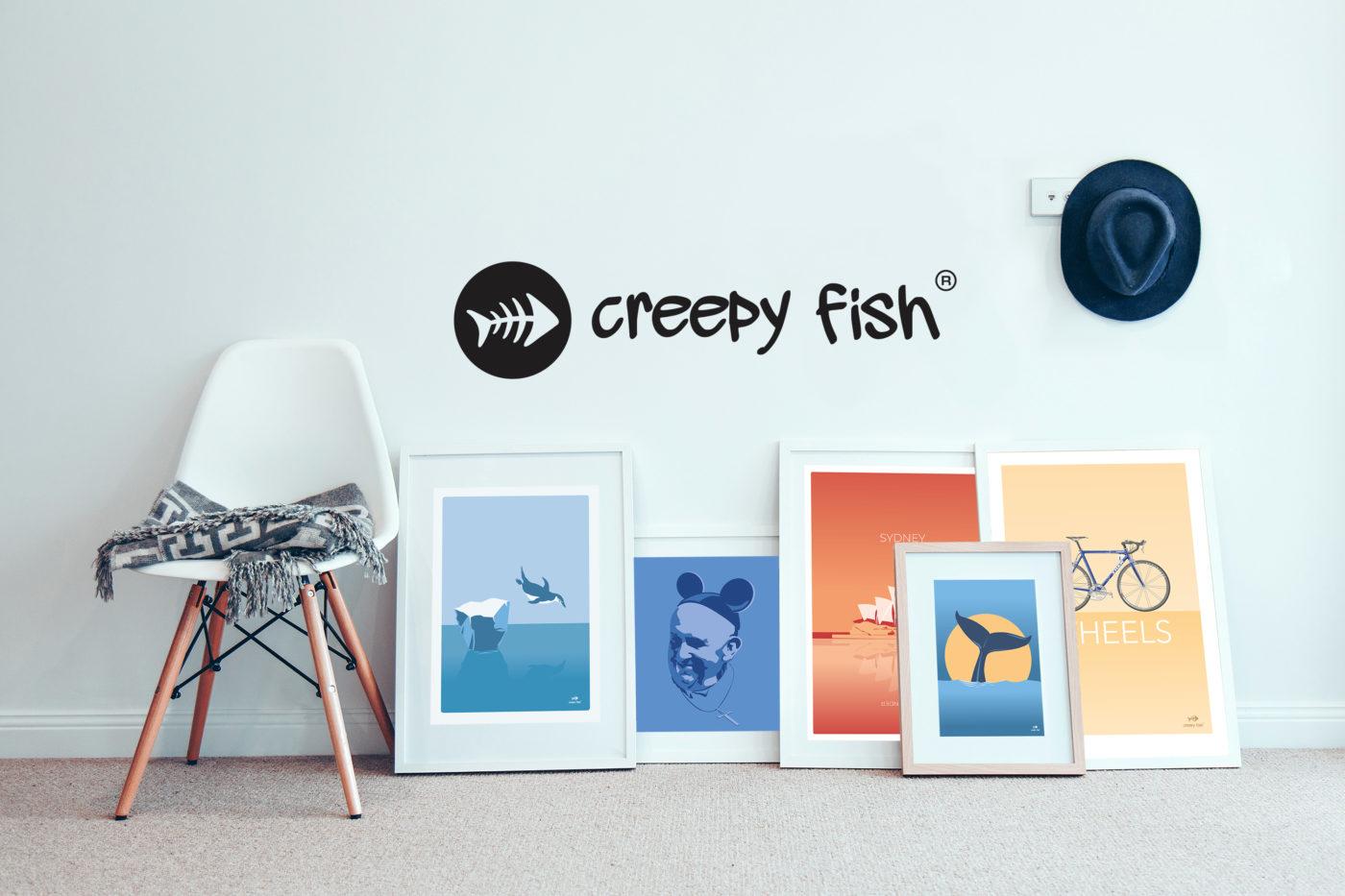 Creepy Fish unique art posters