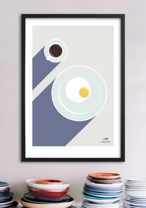 Breakfast for the left-handed - unique art poster
