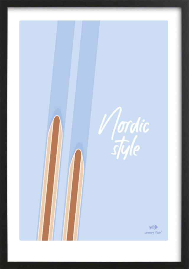 Nordic style - unique ski poster